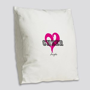 Love Cheer Heart Burlap Throw Pillow