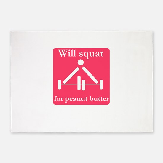 Will squat for peanut butter 5'x7'Area Rug