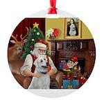 Santa's Anatolian Shepherd Round Ornament