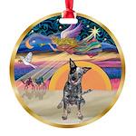 XmasStar/Cattle Dog Round Ornament