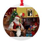 Santa's Ausie Round Ornament