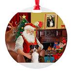 Santa's Aussie Round Ornament