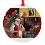 Santa's Basenji Round Ornament