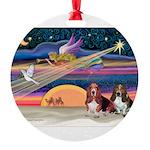 Xmas Star & 2 Bassets Round Ornament