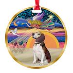 XmasStar/Beagle 2 Round Ornament