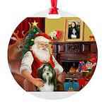Santa's Beardie Round Ornament