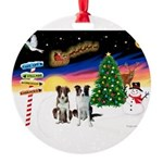 XmasSigns/2 Border Collies Round Ornament