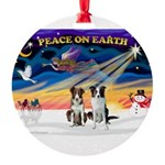 XmasSunrise/2 Border Collies Round Ornament