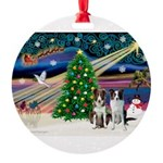 XmasMagic/2 Border Collies Round Ornament