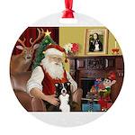 Santa's Border Collie Round Ornament