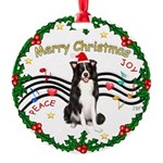 XmasMusic1MC/Border Collie Round Ornament
