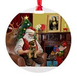 Santa's Border T Round Ornament