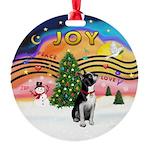 XMusic2-Boston Terrier Round Ornament