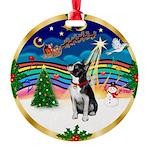 XmasMusic 3/Boston Terrier Round Ornament