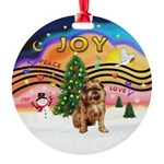 XMusic2-Brussels Griffon (brn) Round Ornament
