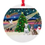 XmasMagic/ 2 Bullies Round Ornament