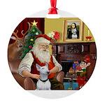 Santa's Bull Terrier Round Ornament