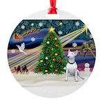XmasMagic/ Bull Terrier Round Ornament
