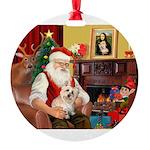 Santa's Cairn Terrier Round Ornament