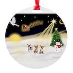 Night Flight/3 Chihuahuas Round Ornament