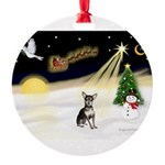 Night Flight/Chihuahua Round Ornament
