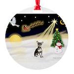 Night Flight/Chihuahua Round Ornament