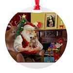 Santa's Chihuahua Round Ornament