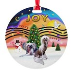 XMusic 2 - Chinese Crested (2HL) Round Ornament
