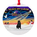 XmasSunrise/Sharpei (blk) Round Ornament