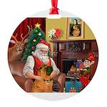 Santa's Shar Pei Round Ornament