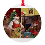 Santa's Chow Round Ornament