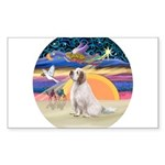 XmasAngel-ClumberSpaniel Sticker (Rectangle 10 pk)