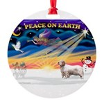 Xmas Sunrise - Clumber Spaniel Round Ornament