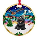 XmasMusic r (blk) #13/Cocker Round Ornament