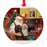 Santa's 2 Cockers Round Ornament