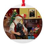 Santa's Cocker (blk) Round Ornament
