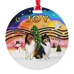 XMusic2-Two Collies Round Ornament