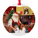 Santa's 2 Collies Round Ornament
