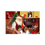 Santa's 2 Collies 35x21 Wall Decal