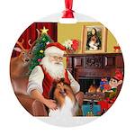 Santa's Collie Round Ornament