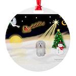 Night Flight/Coton De Tulear Round Ornament