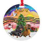 XMusic2-Two Dachshunds Round Ornament