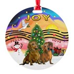 XMusic2-Two brown Dachshunds Round Ornament