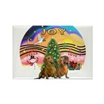 XMusic2-Two brown Dachshunds Rectangle Magnet (10
