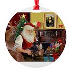 Santa/Dachsund (#1) Round Ornament