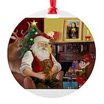 Santa/Brown Dacshund Round Ornament