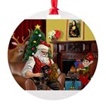 Santa/Two Dachshunds (BB) Round Ornament