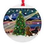 Santa/Two Dachshunds (BB-P2) Round Ornament