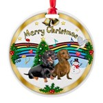 XmasMusic1/2 Dachshunds Round Ornament