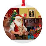 Santa's Dachshund (WH) Round Ornament